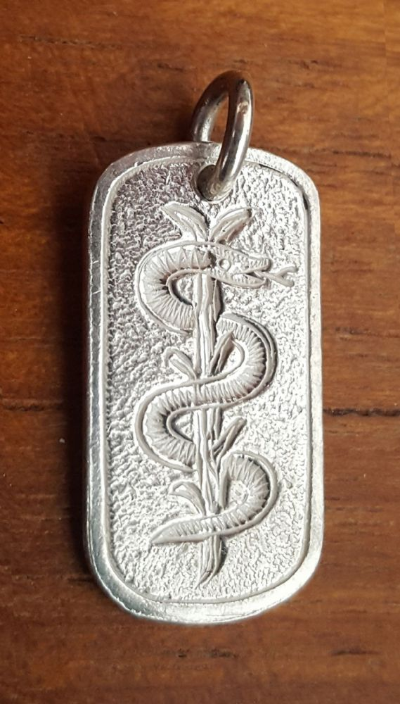 Asclepius Medical Alert Pendant & Chain  925 UK Sterling Silver Dog Tag